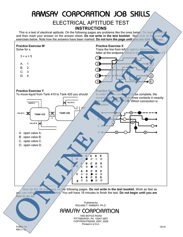 Electrician aptitude test sample