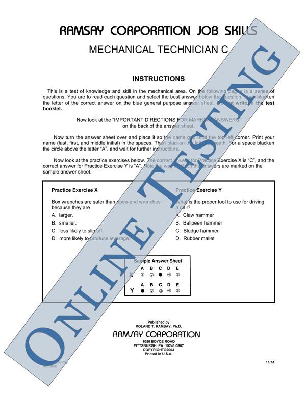 Mechanical Technician C Alternate Equivalent Form Mtc Yc Online
