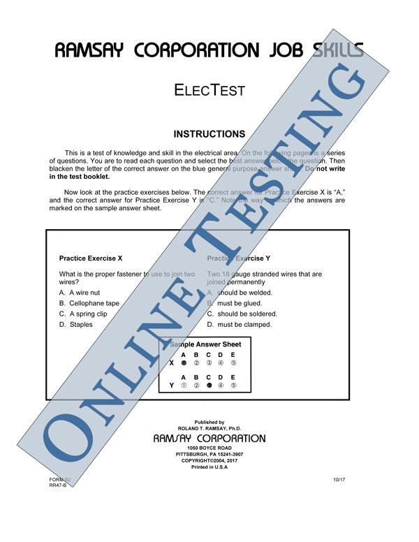 Electest Alternate Form Form B2 Online Ramsay