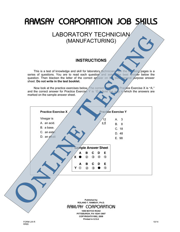 Laboratory Technician Processing Form A Online Ramsay