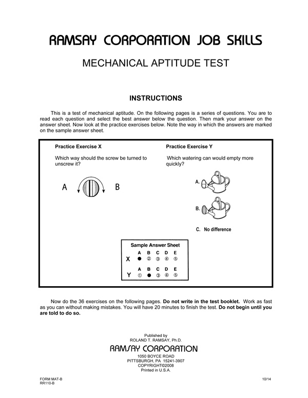 Mechanical aptitude test alternate equivalent form mat b2 mechanical aptitude test alternate equivalent form mat b2 fandeluxe Choice Image