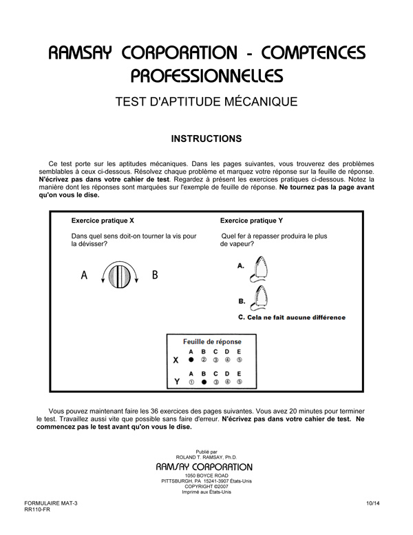 Mechanical aptitude test form mat 3 fr french ramsay corporation mechanical aptitude test form mat 3 fr french fandeluxe Choice Image