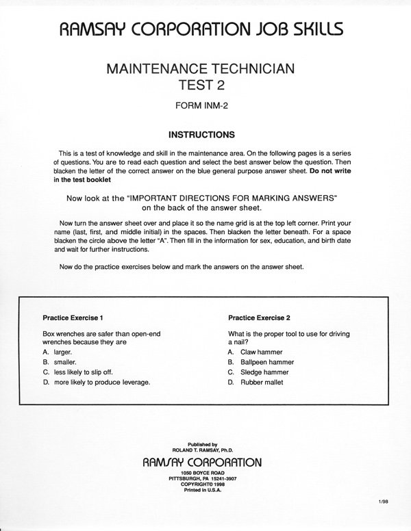 maintenance technician test 2 form inm 2 ramsay corporation rh ramsaycorp com ASE Electrical Study Guide Math Study Guide