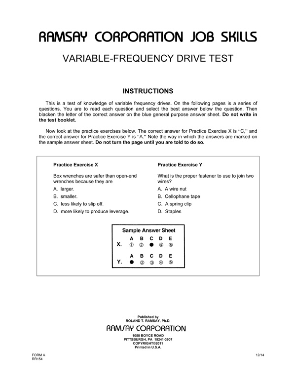 Variable-Frequency Drive (VFD) Test - Form A