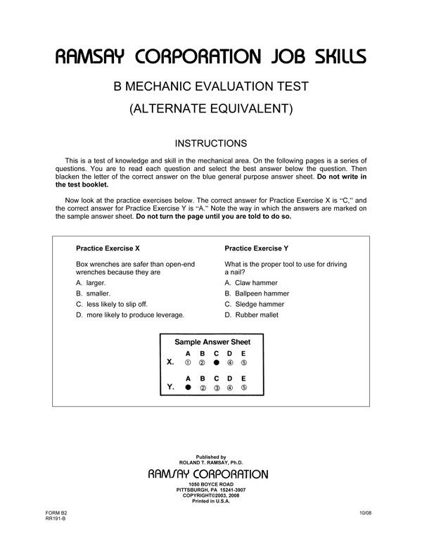 B Mechanic Evaluation Alternate Equivalent Form B2 Ramsay – Lecture Evaluation Form
