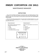Maintenance Manager - Form A1