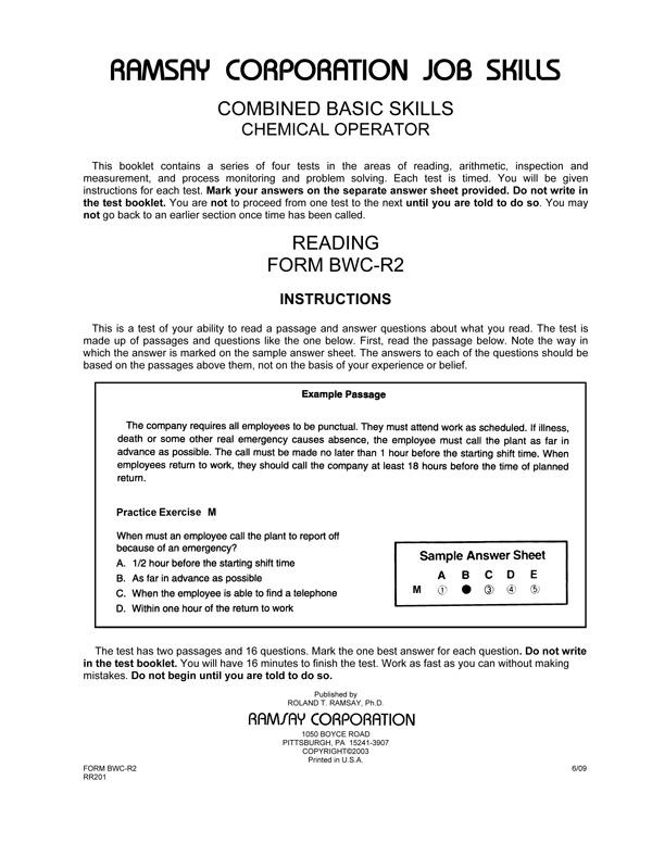 combined basic skills chemical operator form bwc r2 ramsay rh ramsaycorp com Test Short-Answer Fraction Test