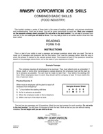 Combined Basic Skills (Food Industry, Alternate Equivalent) - Form FI-B