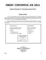 Maintenance Troubleshooter - Form A