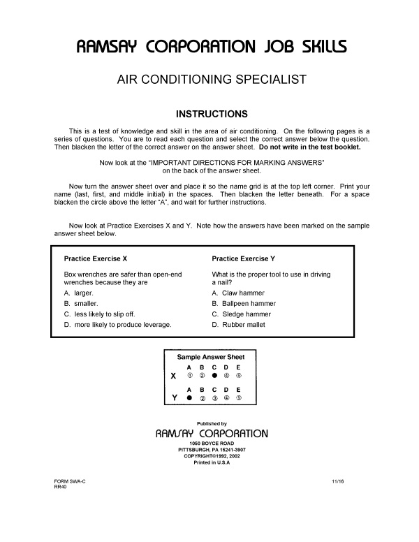 Air Conditioning Specialist Form Swa C Ramsay Corporation
