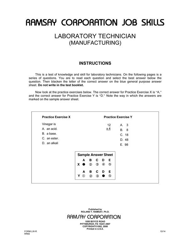 Laboratory Technician Processing Form A Ramsay Corporation
