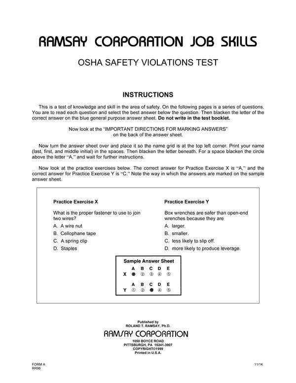 OSHA Safety Violations Test - Form A - Ramsay Corporation